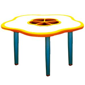 Mesa diseño flor de plástico en color naranja con gris de 85x75x55cm
