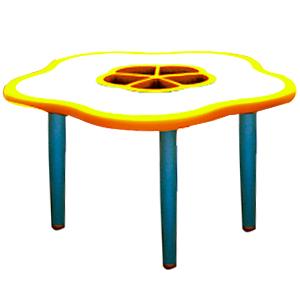 Mesa diseño flor de plástico en color amarillo con gris de 85x75x55cm