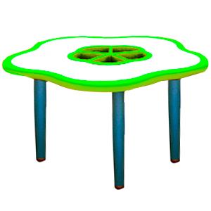 Mesa diseño flor de plástico en color verde con gris de 85x75x55cm