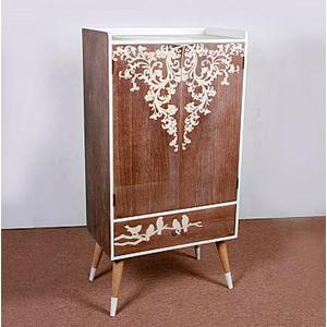 Gabinete de madera con estampado de aves de 60x36x115cm