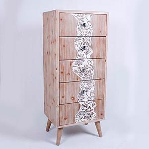 Cómoda de madera con 5 cajones de 45x36x107cm