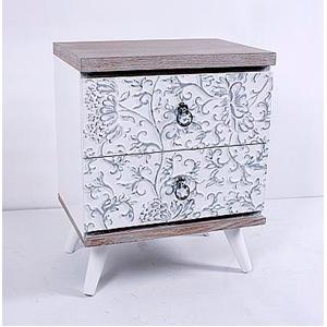 Cómoda de madera blanca con diseño de flores de 48x35x59cm