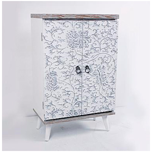 Gabinete de madera blanca con diseño de flores de 60x35x95cm