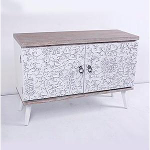 Cómoda de madera blanca con diseño de flores de 100x39x69cm
