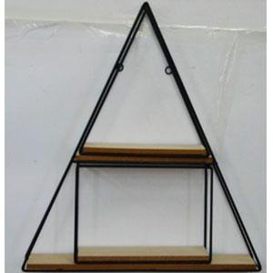 Estante de metal para pared diseño triangulo con entrepaños de madera de 50x50x10cm