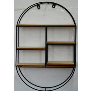 Estante de metal para pared diseño Ovalado con entrepaños de madera de 40x60x10cm