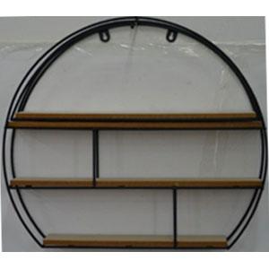 Estante de metal para pared diseño Circulo con entrepaños de madera de 44x50x10cm