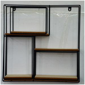 Estante de metal para pared diseño Cuadrado con entrepaños de madera de 50x50x10cm