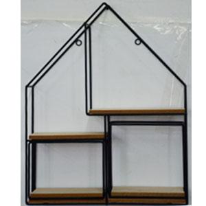 Estante de metal para pared con entrepaños de madera de 40x50x10cm