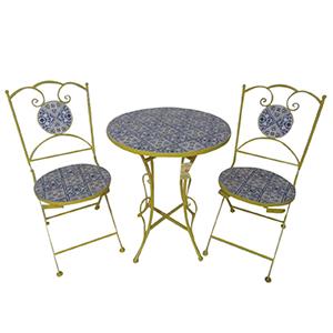 Juego de mesa y 2 sillas de metal dorada para jardín plegables de mosaicos de 60x60x70/38x38x90cm