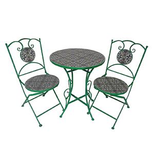 Juego de mesa y 2 sillas de metal verde para jardín plegables de mosaicos de 60x60x70/38x38x90cm