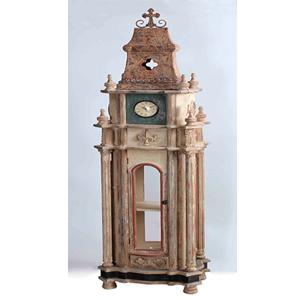 Mueble de madera diseño Torre con Reloj de 48x33x184cm