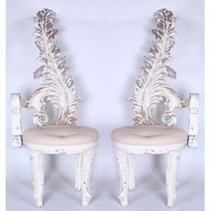 Juego de 2 sillas terminado antiguo con respaldo diseño pluma de 53x50x133cm