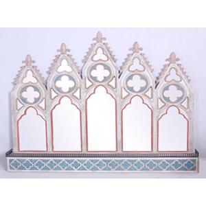 Espejo con base terminado antiguo blanco de 160x18x130cm