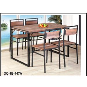 Juego de mesa de madera y base de metal con 4 sillas de 110x70x76/38.5x44.5x85cm