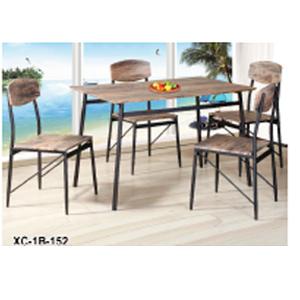 Juego de mesa de madera y base de metal con 4 sillas de 110x70x76/40x43.5x87cm
