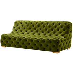 Sillón de terciopelo verde capitoneado de 215x103x85cm