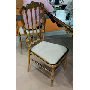 Silla dorada diseño clásico con asiento blanco de 46x49x110cm