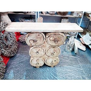 Mesa de madera rectangular base con cajones diseño tronco 100x55x28cm