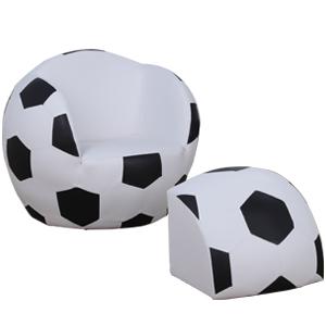 Sillón infantil con descansa pies diseño Balón de Futbol de 51.5x47x43cm