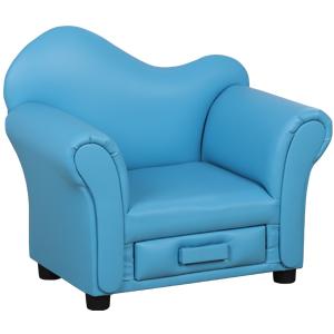 Sillón infantil azul con cajón de 60.5x37x50.5cm