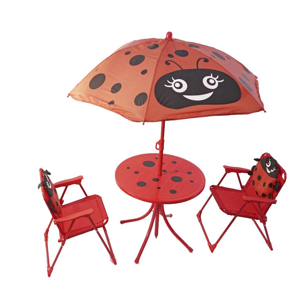 Juego de mesa infantil con sombrilla y 2 sillas diseño Catarina de 50x46/100x125cm