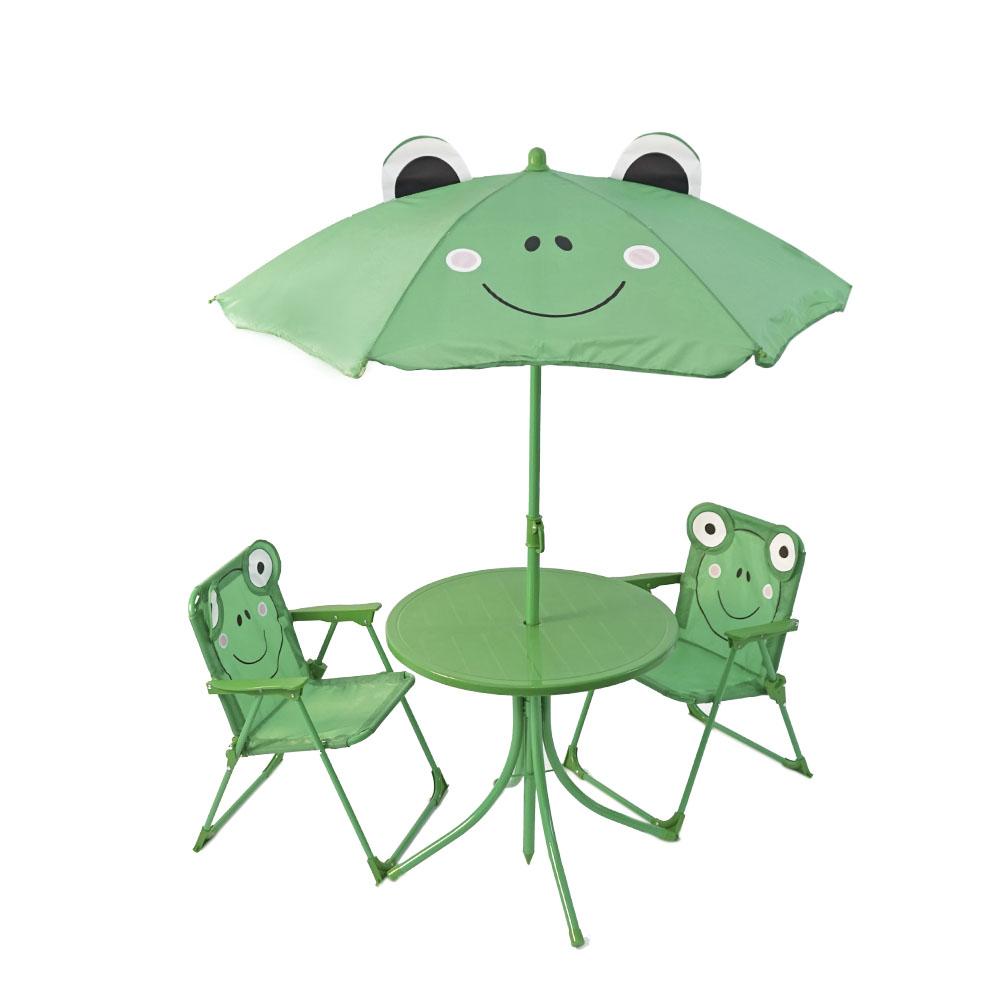 Juego de mesa infantil con sombrilla y 2 sillas diseño ranita de 50x46/100x125cm