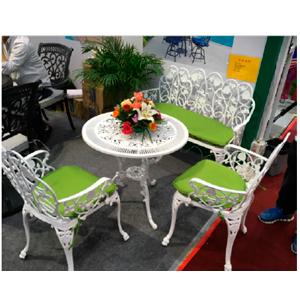 Juego de jardin de metal blanco y cojines verdes 2+1+1