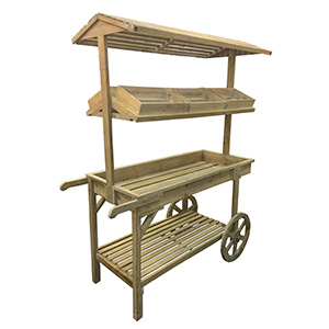 Carrito de madera para mercado de 113x59x169cm