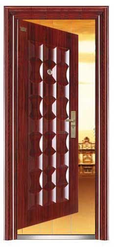 Puerta de acero con luz en la cerradura, timbre integrado con seguros 206x96x12cm