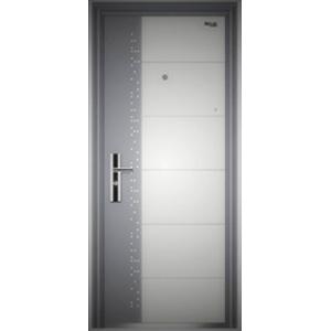 Puerta de acero derecha con timbre blanca con gris 0.6/1.2mm de 215x96x7cm