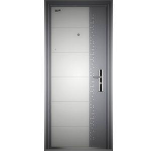 Puerta de acero izquierda con timbre blanca con gris 0.6/1.2mm de 215x96x7cm