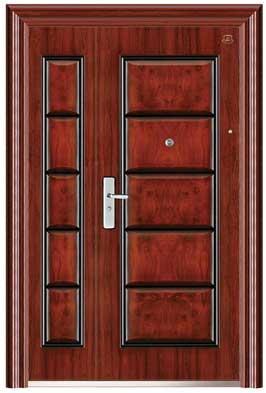 Puerta de acero izquierda imitación madera con timbre 0.7/1.2mm de 215x120x7 cm
