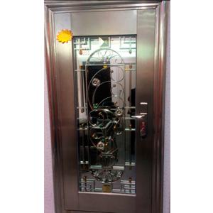 Puerta de acero inoxidable con cristal polarizado diseño guía de flores izquierda de 205x96x7cm