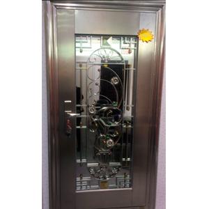 Puerta de acero inoxidable con cristal polarizado diseño guía de flores derecha de 205x96x7cm