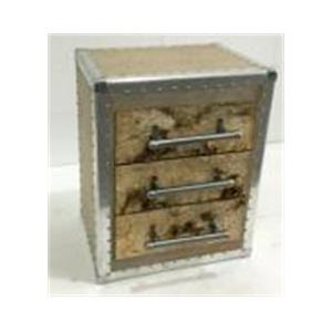 Cajonera de madera forrada de corteza c/orilla de metal y 3 cajones de 49x36x61cm