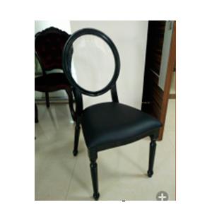Silla de metal negra con respaldo transparente y asiento de charol de 92x43x55cm