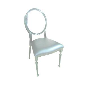 Silla de metal blanca con respaldo transparente y asiento de charol de 92x43x55cm