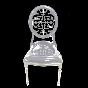 Silla de metal blanca con respaldo calado de acrilico de 92x48x55cm