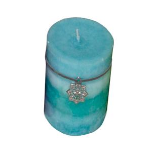 Vela en azules  con aroma a Jazmín 9x10cm