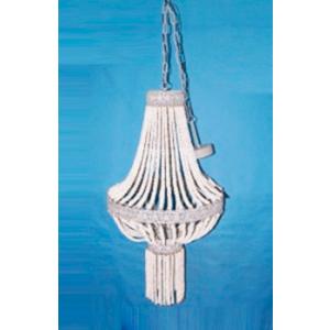 Candil de techo diseño clásico con guías de perlas blancas de 54x209cm