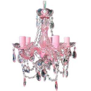 Candil de Acrilico para 5 focos en color rosa de 37x37x42cm