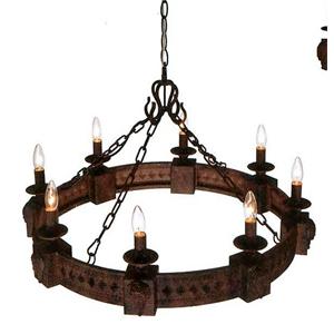 Candil redondo rustico terminado antiguo para 8 focos de 60x90xcm