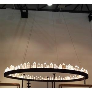 Lámpara de techo redonda de metal diseño cuarzos con luz led de 80cm