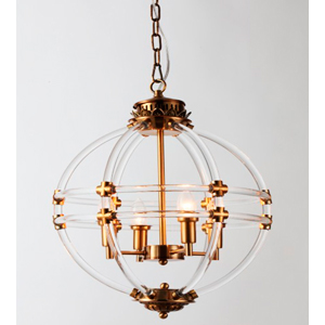Candil de techo diseño esfera de tubos de acrilico transparente para 4 focos de 43x60cm