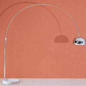 Lámpara de pie de arco diseño cacerola c/base de mármol blanco