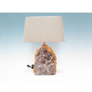Lámpara de mesa diseño marmol blanco c/pantalla de yute de 35x18x48cm