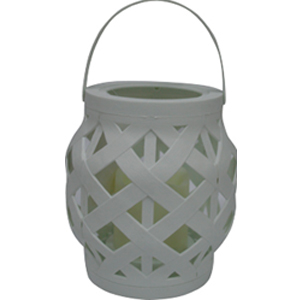 Linterna tejida blanca con vela y luz led de baterías AAA