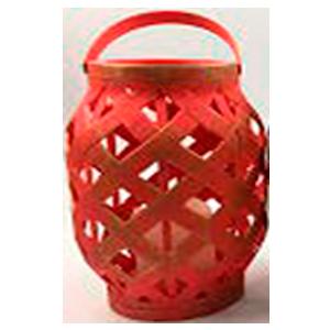 Linterna de madera roja con dorado con vela y luz led de baterías AAA