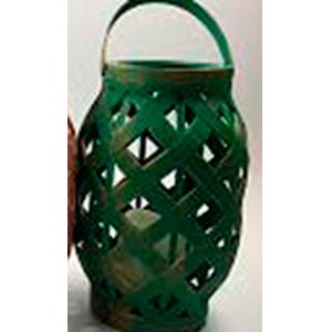 Linterna de madera verde con dorado con vela y luz led de baterías AAA